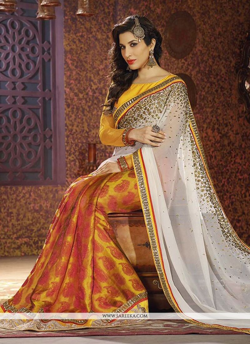 Sophie Chaudhary Mustard and White Half N Half  Saree