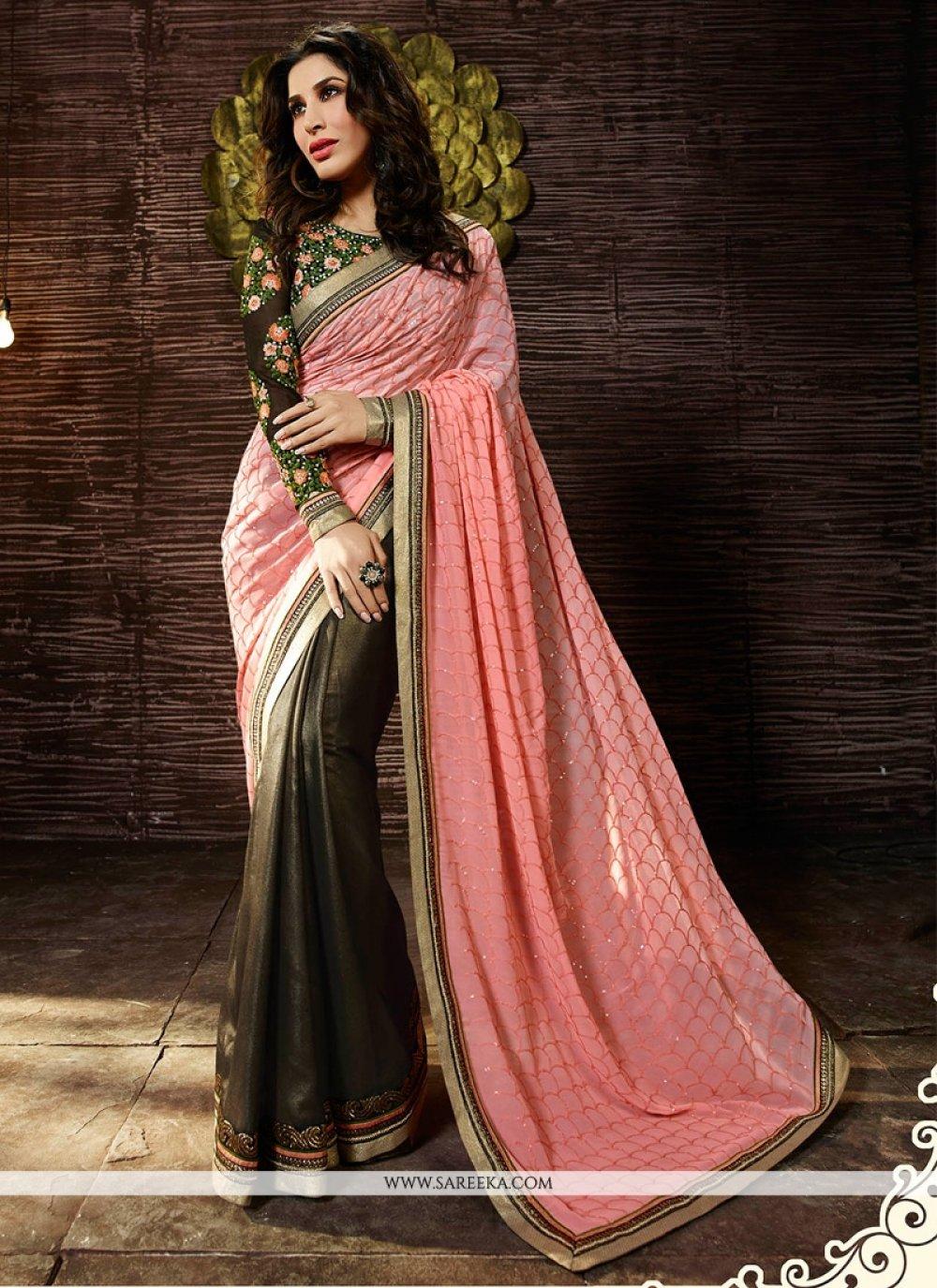 Sophie Chaudhary Pink Embroidered Work Designer Saree
