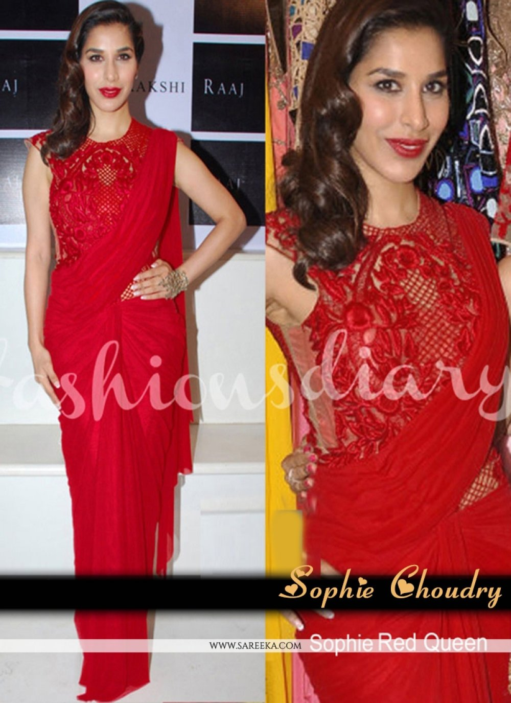 Sophie Chaudhary Red Embroidered Work Bollywood Saree