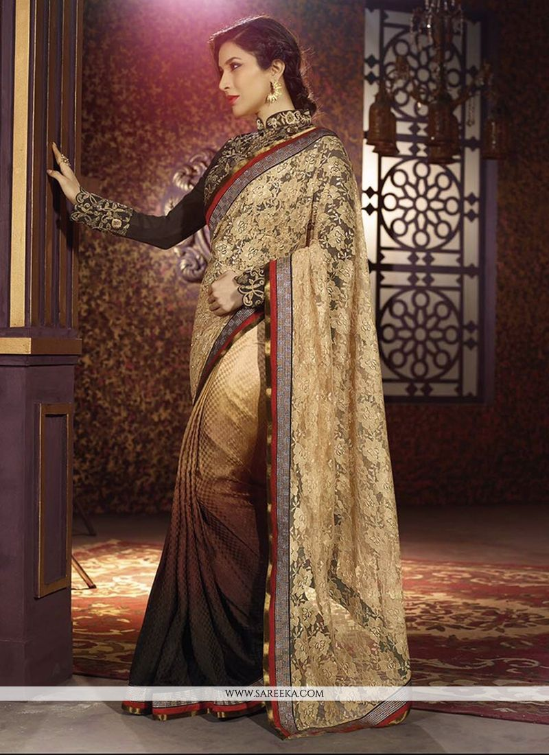 Sophie Chaudhary Resham Work Brown Designer Saree