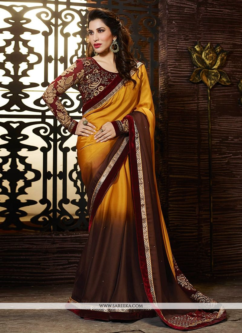 Brown And Yellow Living Room Decor: Sophie Chaudhary Yellow And Brown Designer Saree