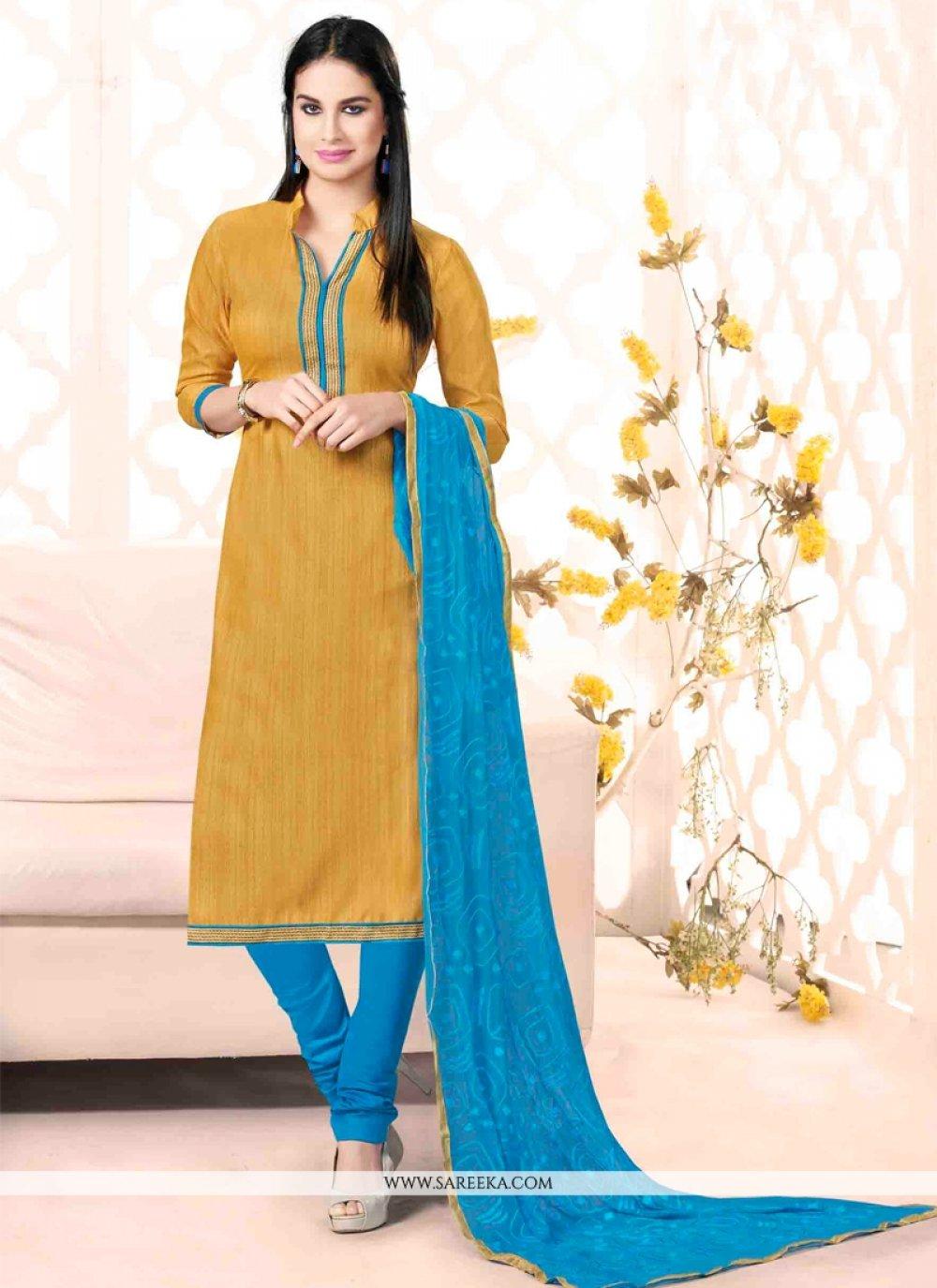 Bhagalpuri Silk Lace Work Churidar Salwar Suit