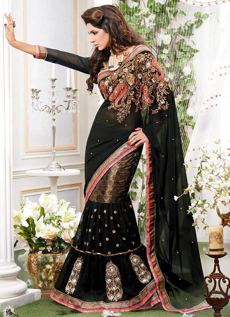 Black Georgette Lehenga Saree