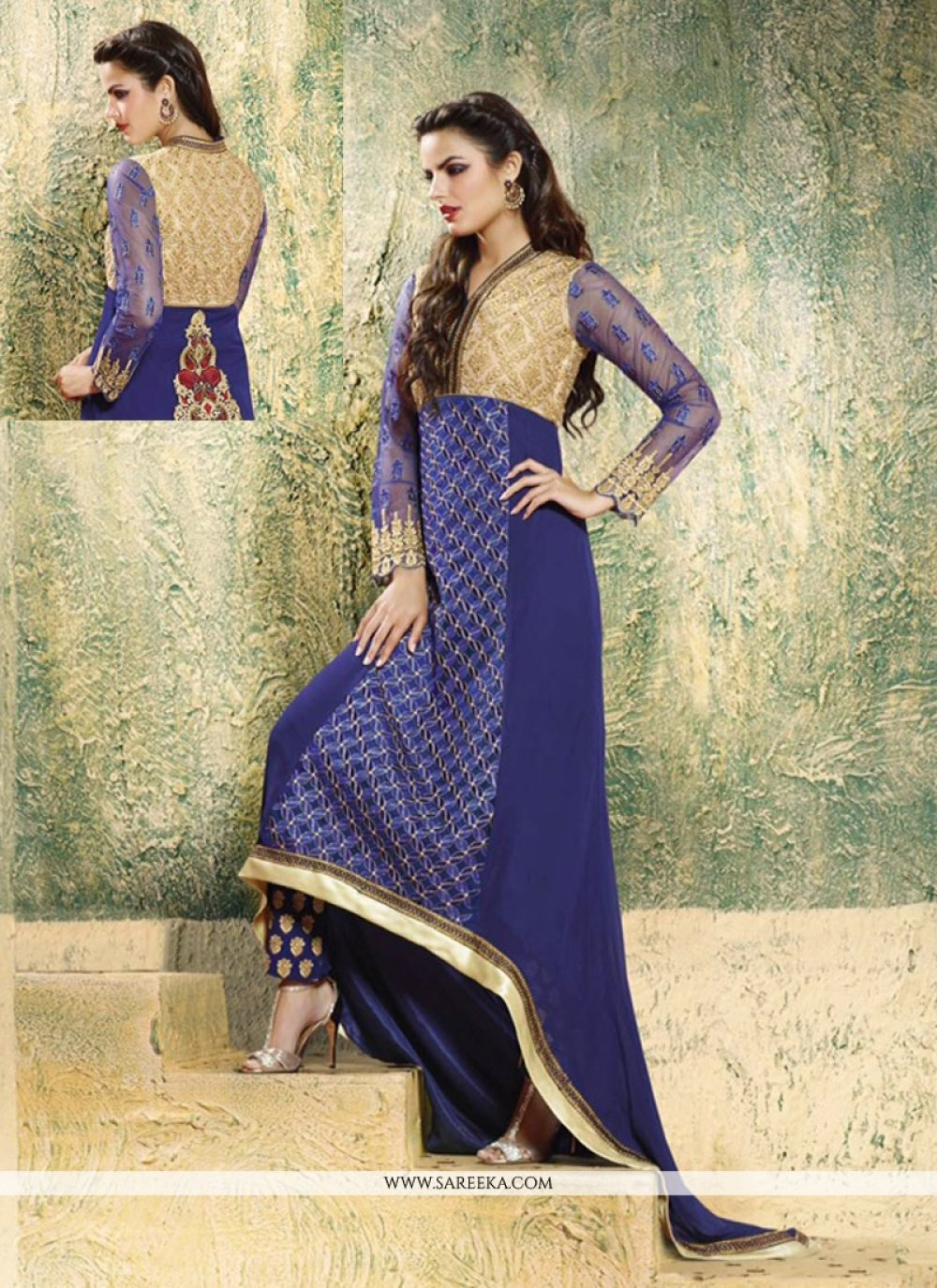 Embroidered Work Blue Georgette Designer Salwar Suit
