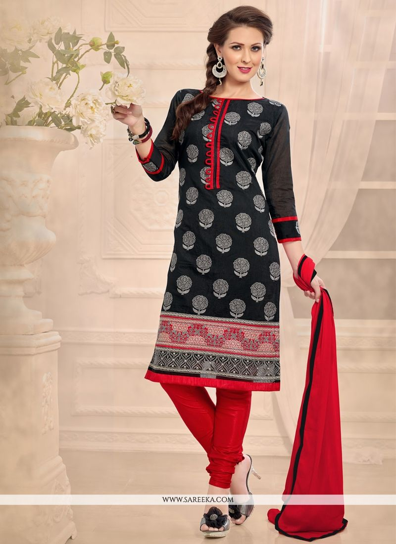 Embroidered Work Chanderi Black Churidar Designer Suit