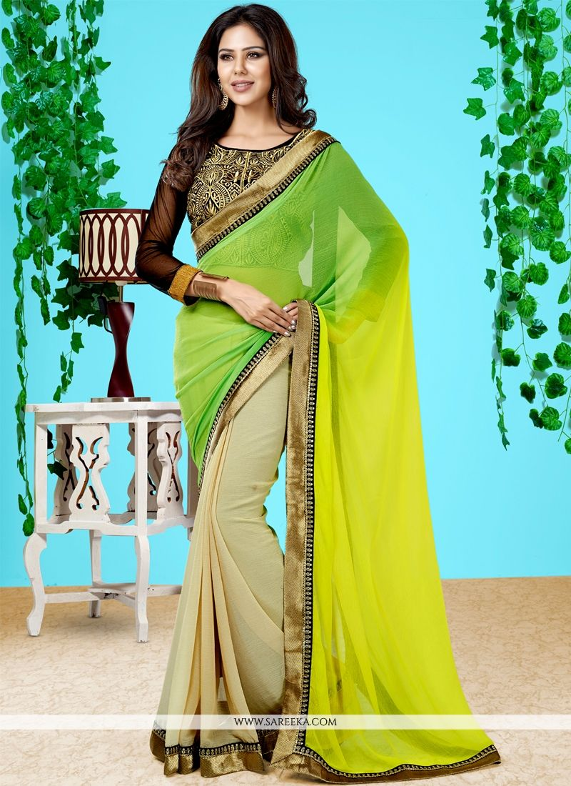 Faux Chiffon Green and Yellow Embroidered Work Designer Half N Half saree