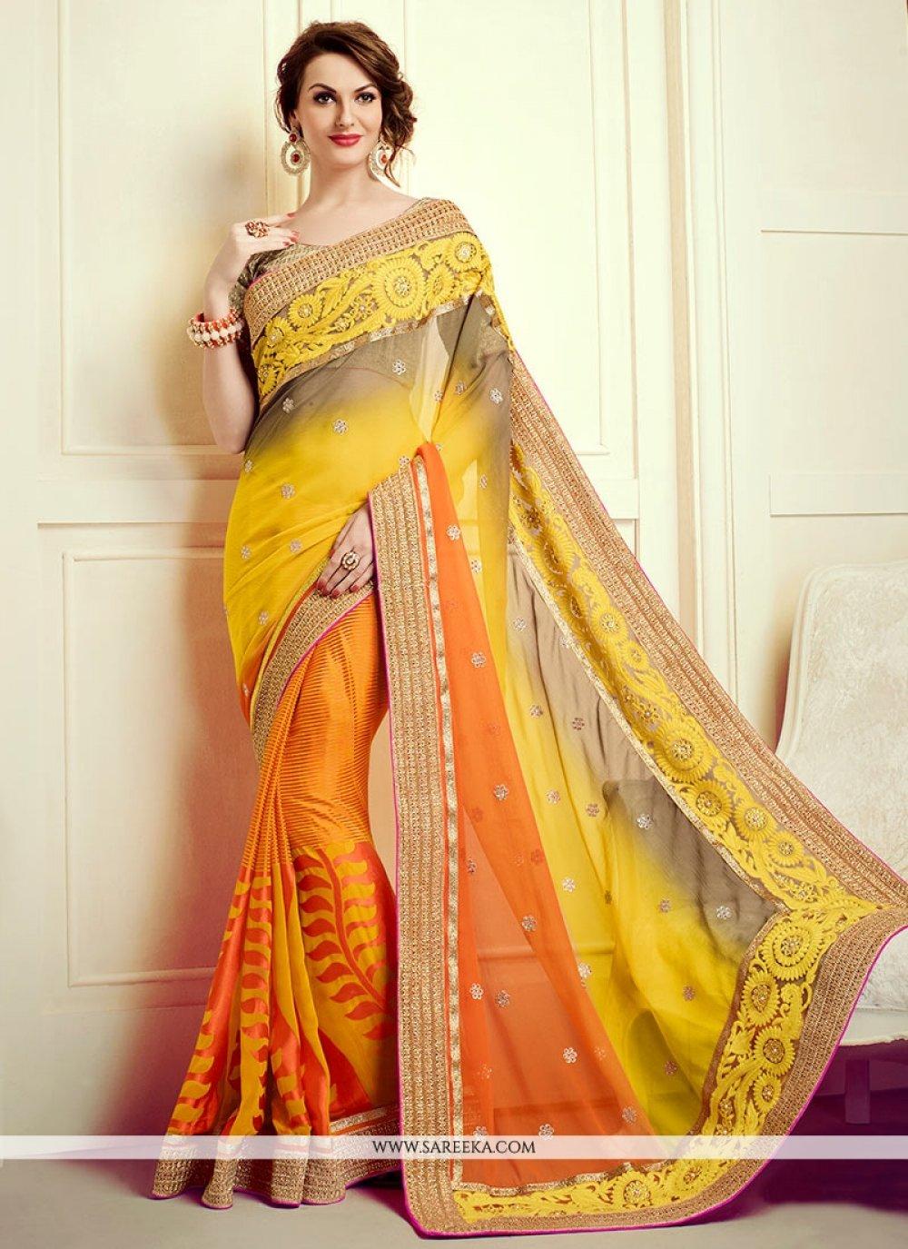 Resham Work Multi Colour Designer Saree