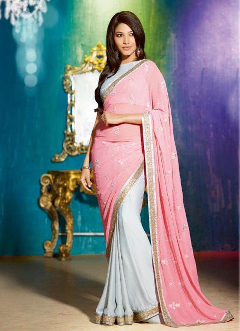 Sparkle Pink And Grey Silk Georgette Saree