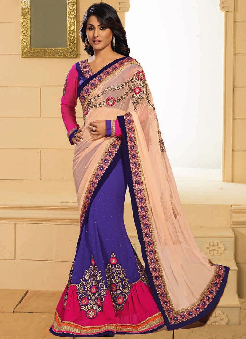 Akshara Cream And Lavender Half And Half Saree