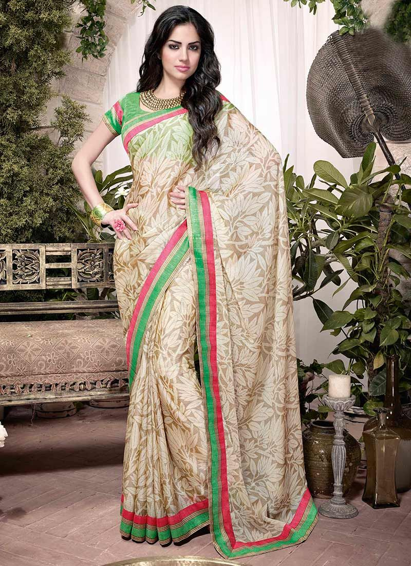 Beige Printed Art Silk Saree