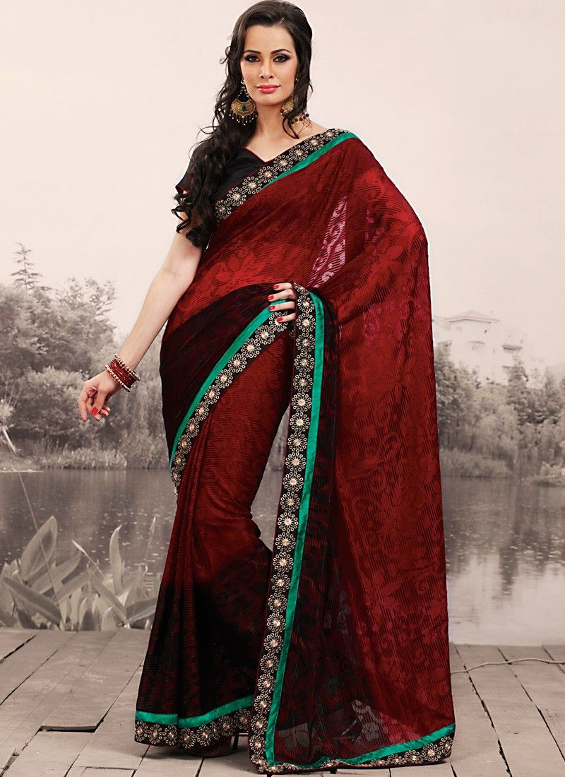 Bick Red & Black Embroidered Saree