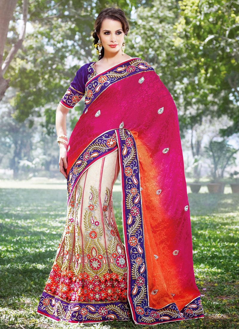 Bige Brown & Deep Pink Embroidered Saree