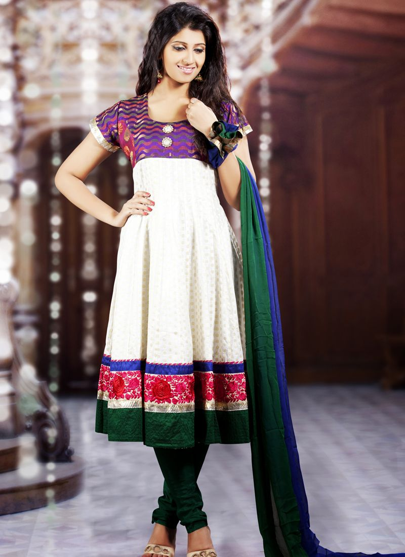 Bluish Purple, Bottle Green & White Salwar Kameez