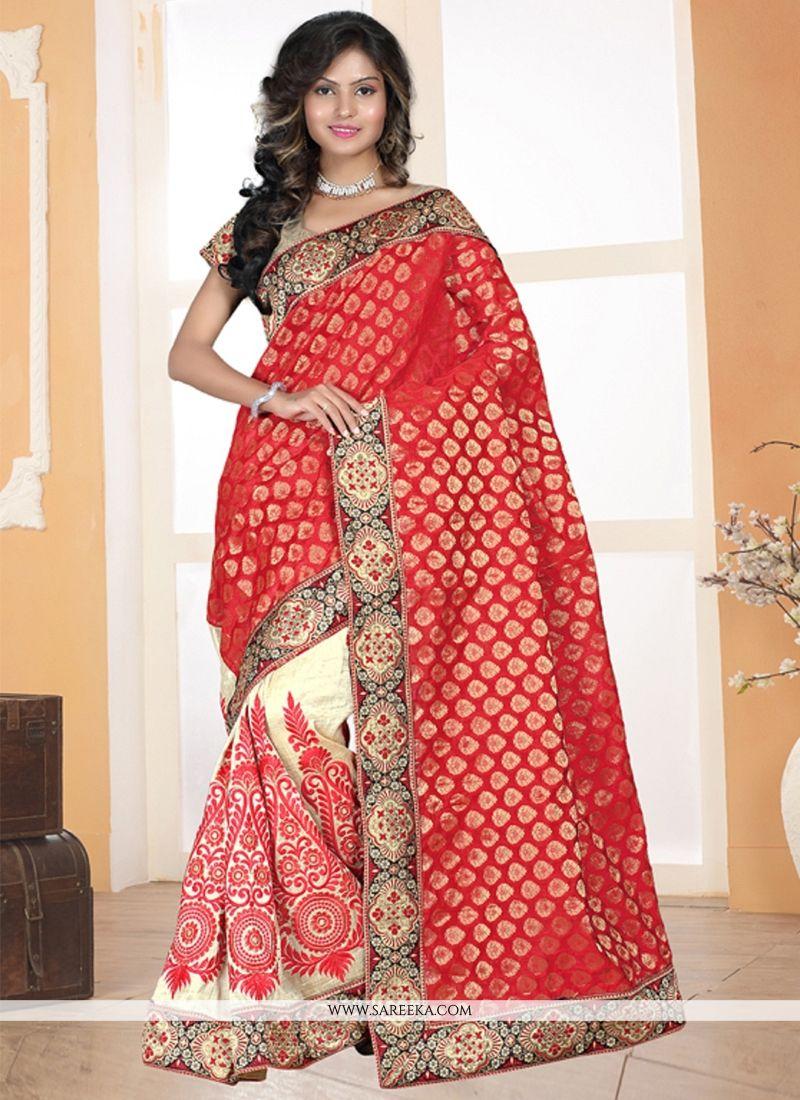 Cream and Red Contemporary Saree