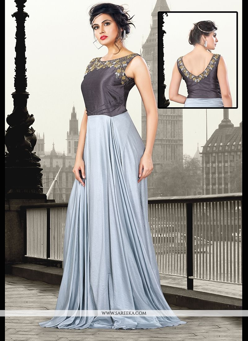 Sequins Work Art Silk Grey Floor Length Gown