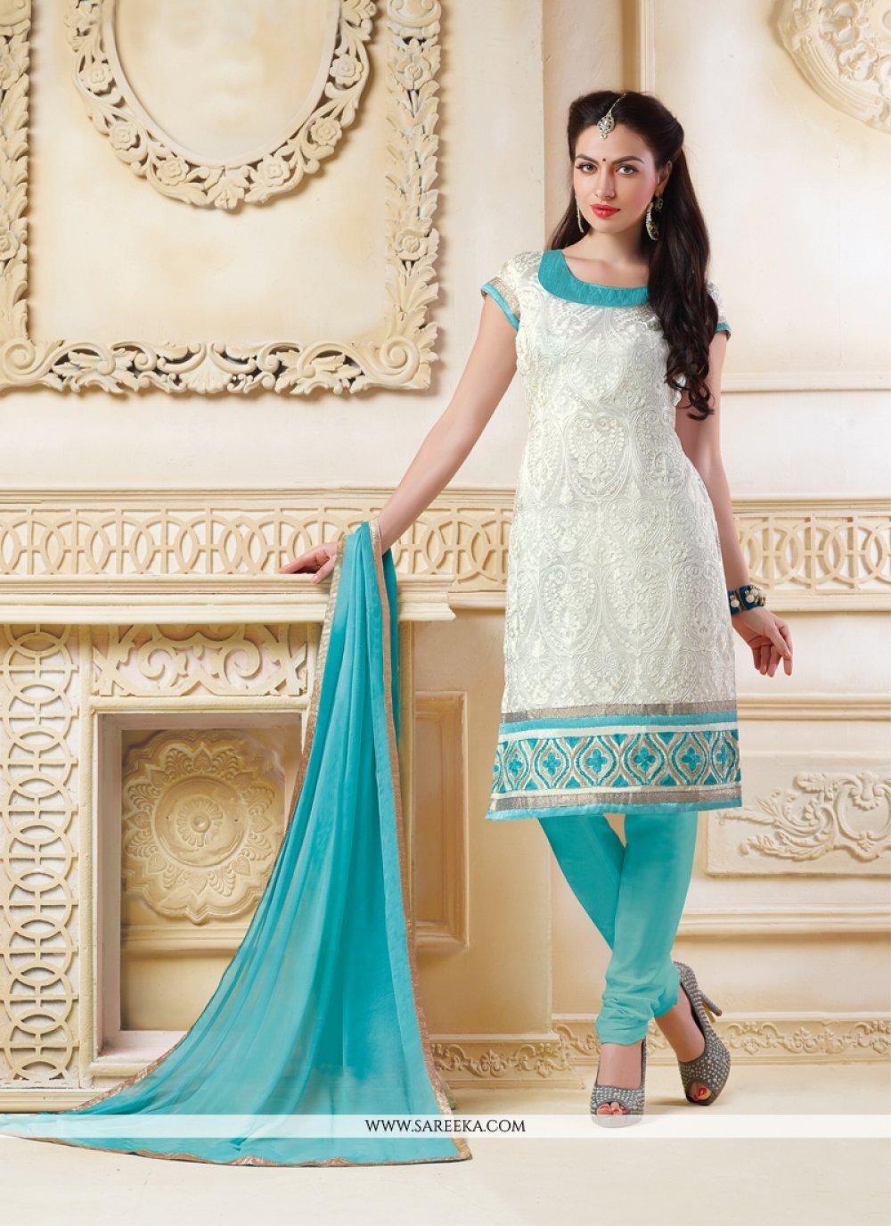 White Embroidered Work Banarasi Silk Churidar Salwar Kameez