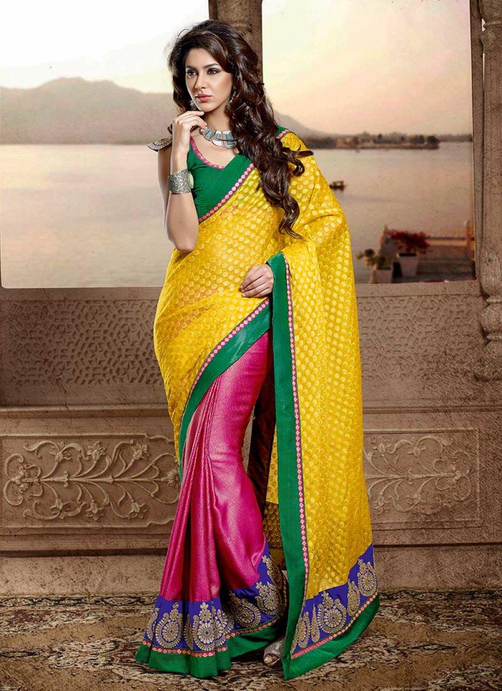 Yellow And Pink Viscose Chiffon Saree