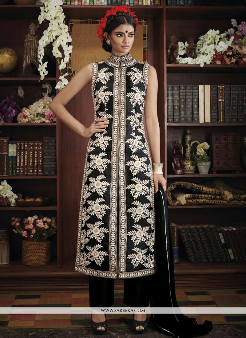 Embroidered Work Black Designer Suit