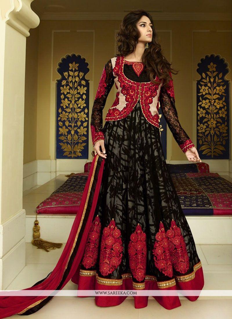 Lace Work Black Georgette Anarkali Salwar Kameez