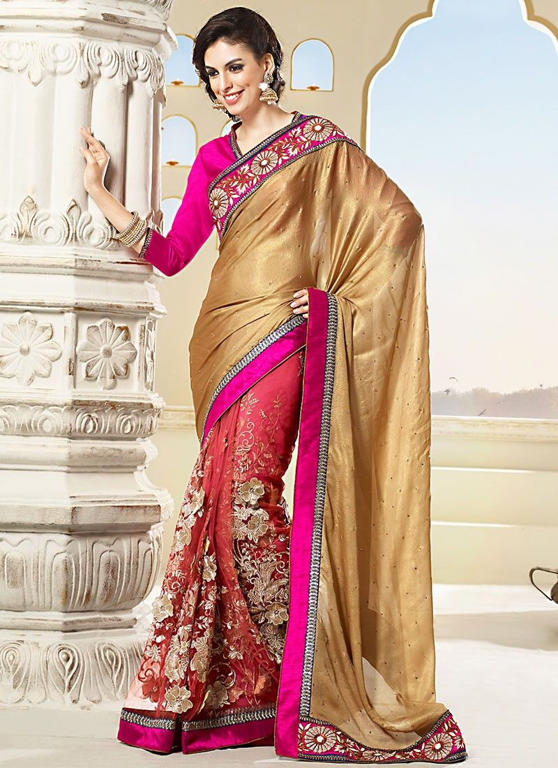 Brown Zari Work Net Half And Half Saree