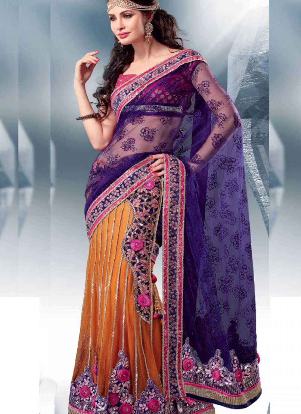 Orange And Blue Color Embroidered Saree