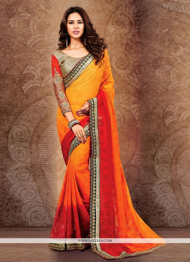 Orange Zari Work Designer Saree