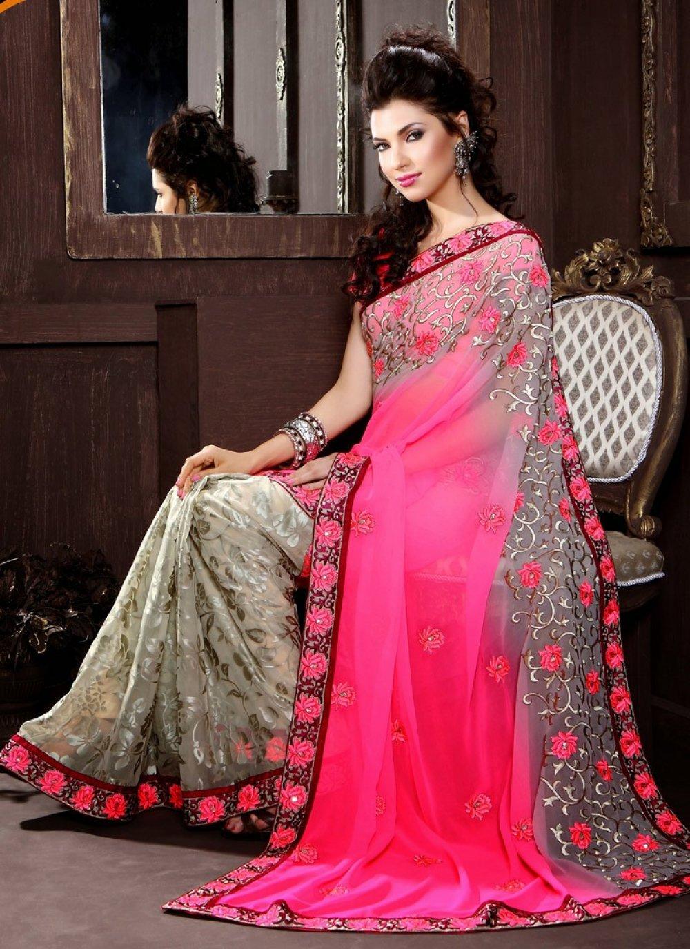Pink Flower Half And Half Saree