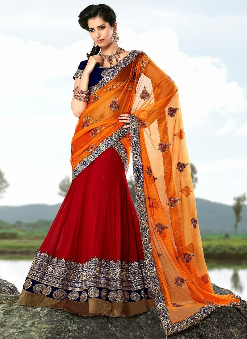 Red And Orange Net Lehenga Choli