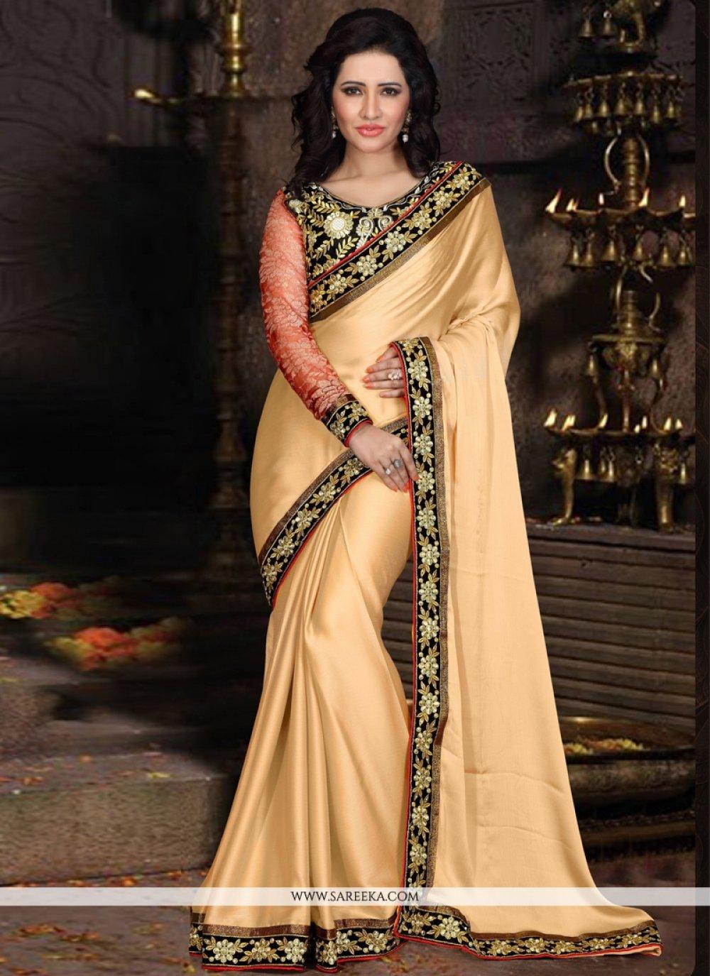 Satin Lace Work Designer Saree