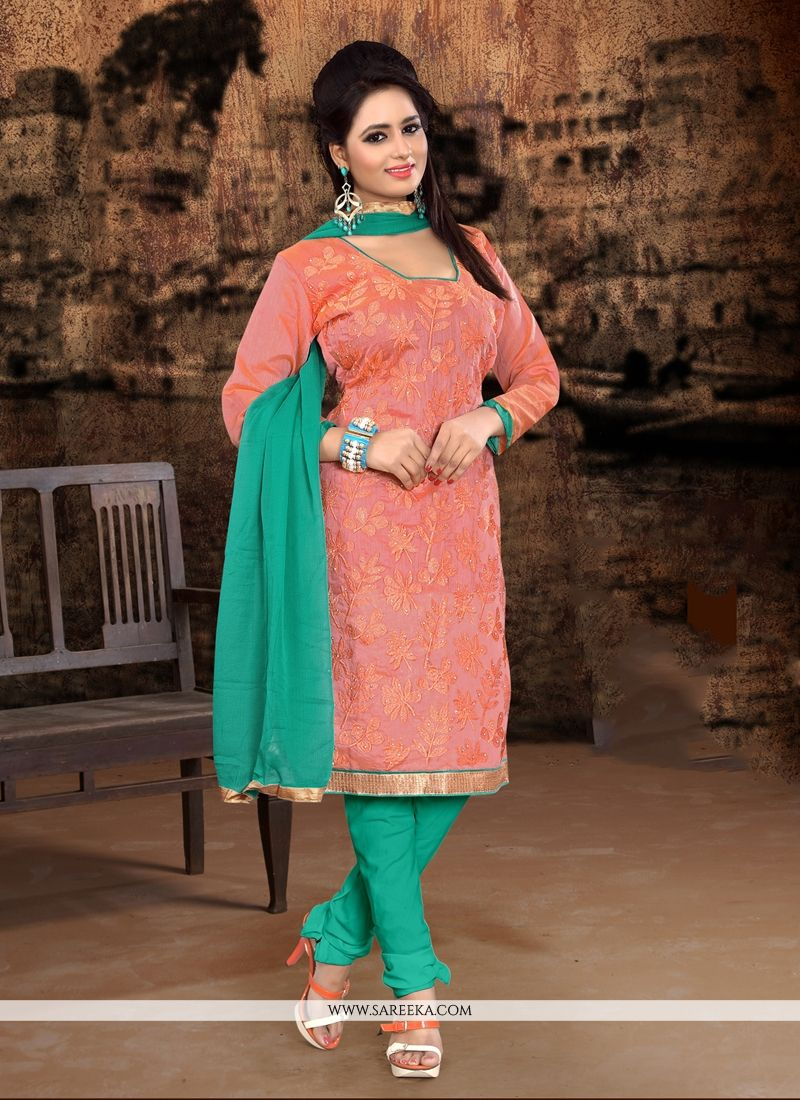 Chanderi Cotton Embroidered Work Churidar Designer Suit
