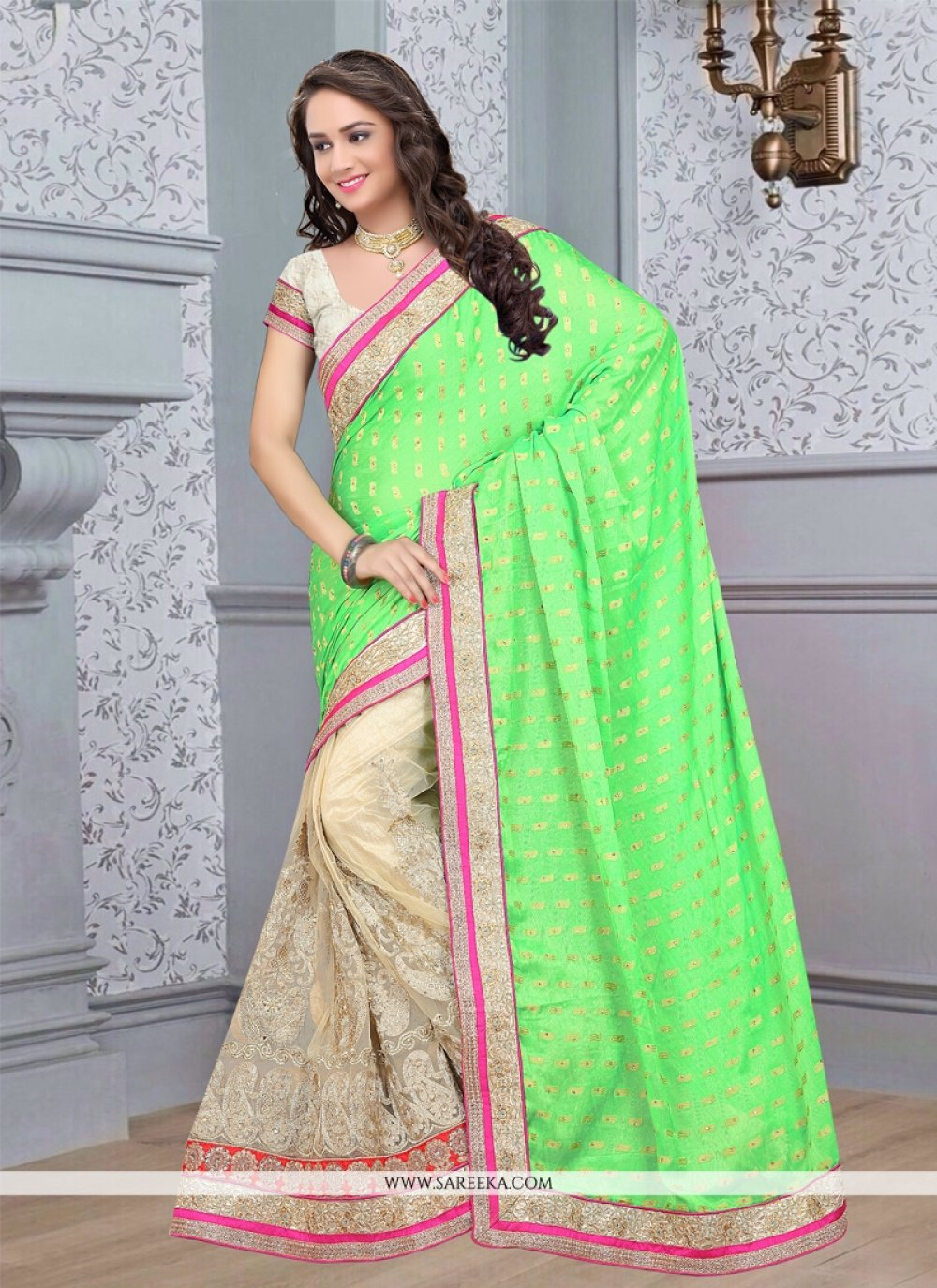 Cream and Green Lace Work Viscose Half N Half Designer Saree