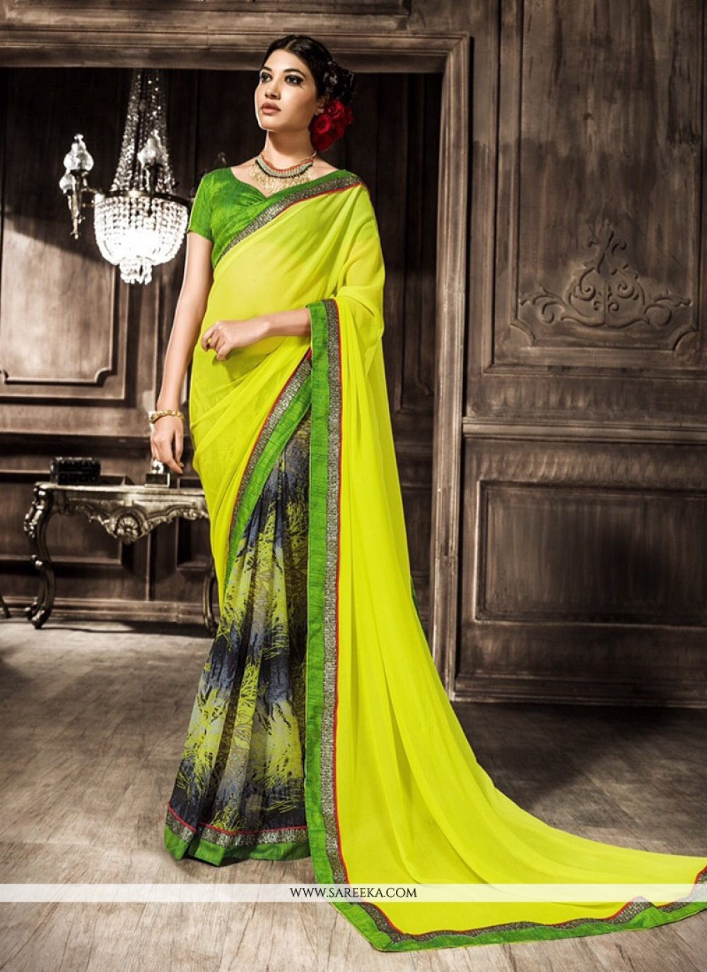 Print Work Green Georgette Casual Saree