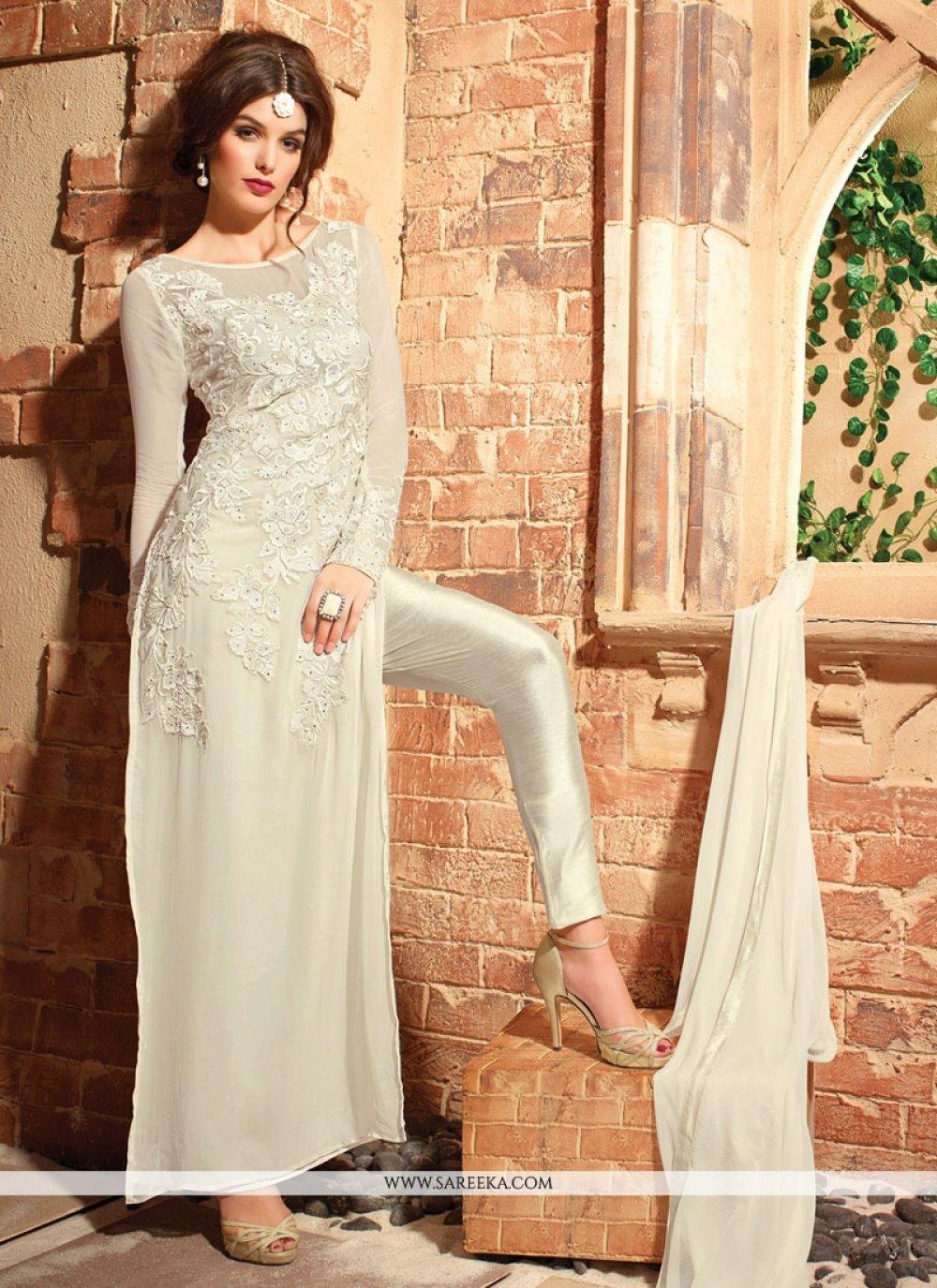 Resham Work Georgette Off White Designer Suit