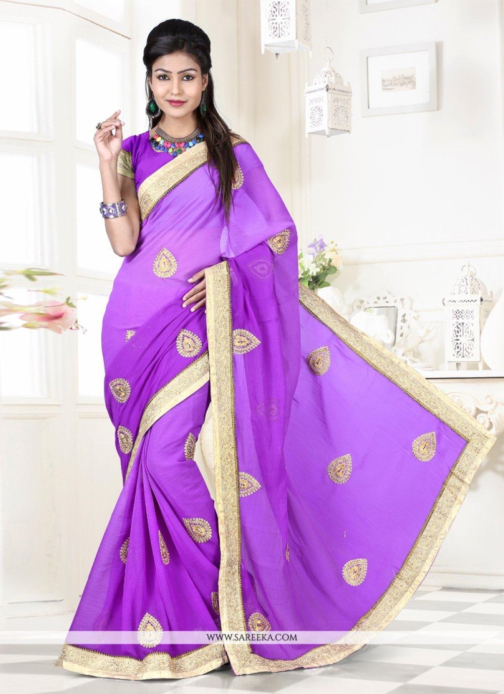 Weight Less Purple Designer Saree