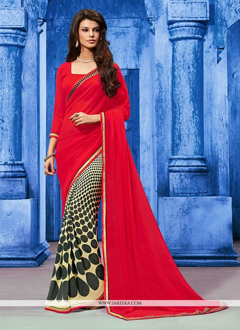 Weight Less Red Designer Saree