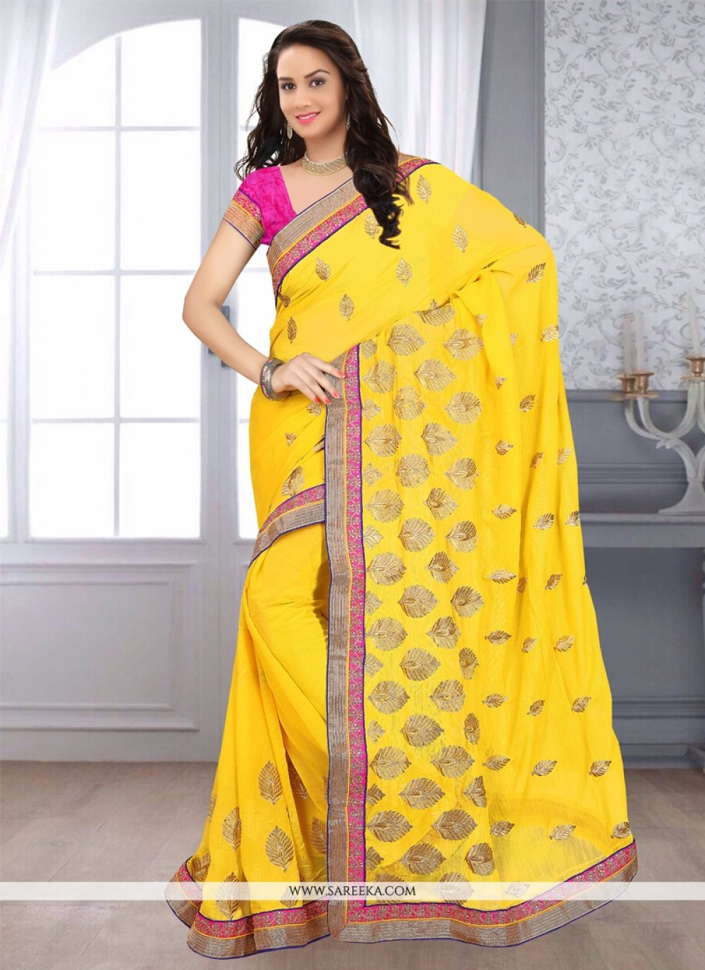 Yellow Embroidered Work Faux Chiffon Casual Saree