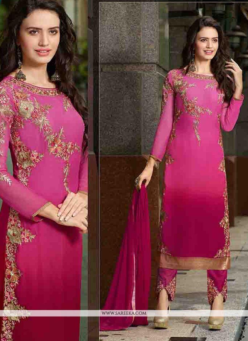 Zari Work Pink Georgette Straight Suit