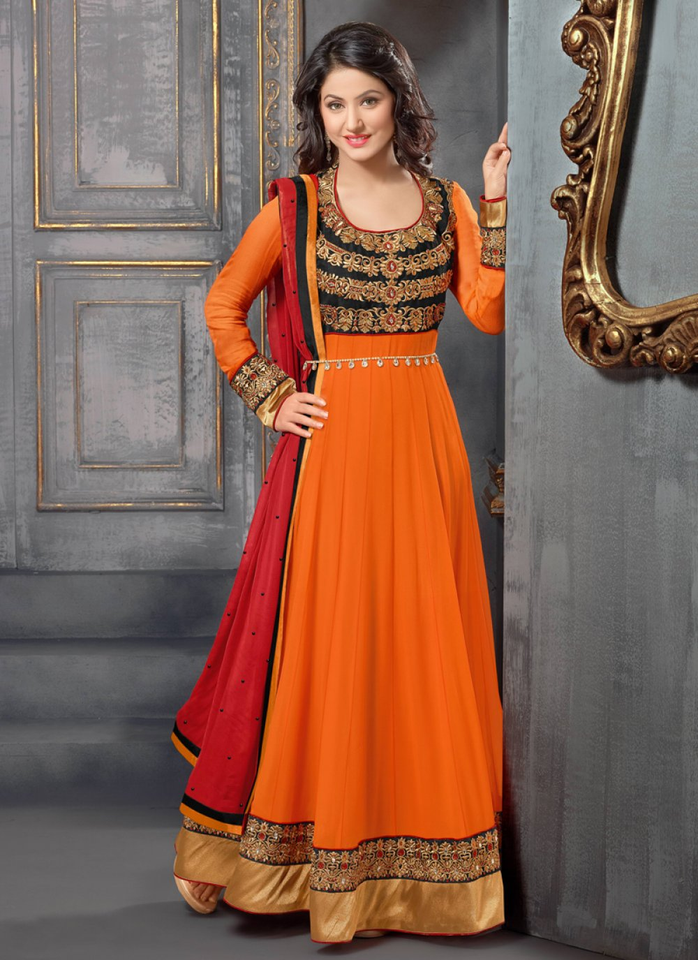 Spendid Orange Georgette Anarkali Suit
