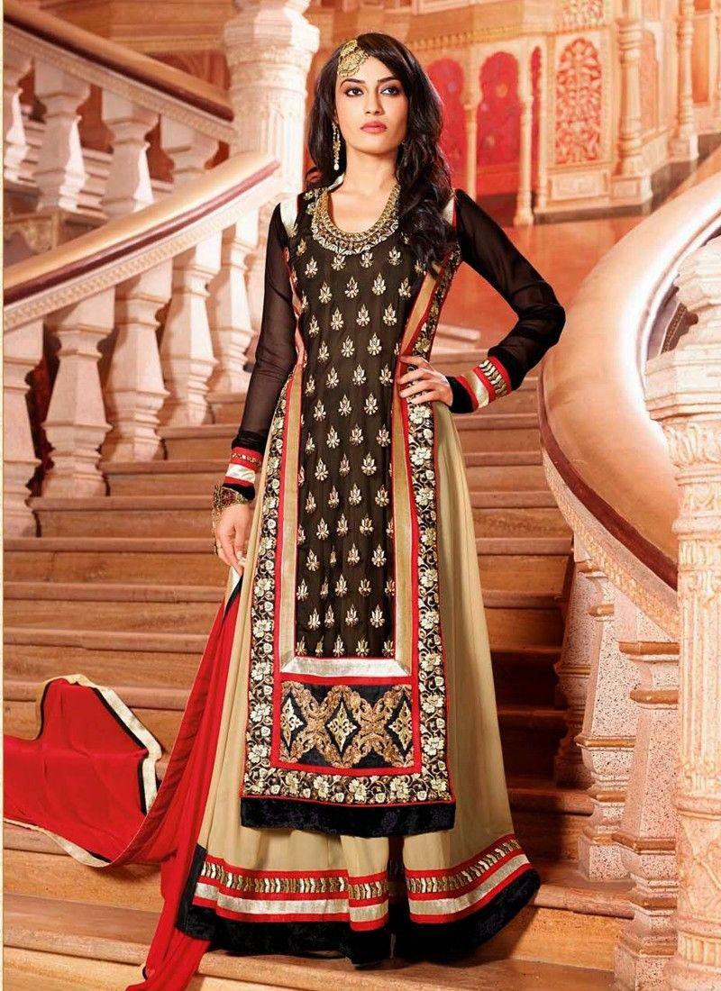 Beige And Black Resham Work Net Anarkali Suit