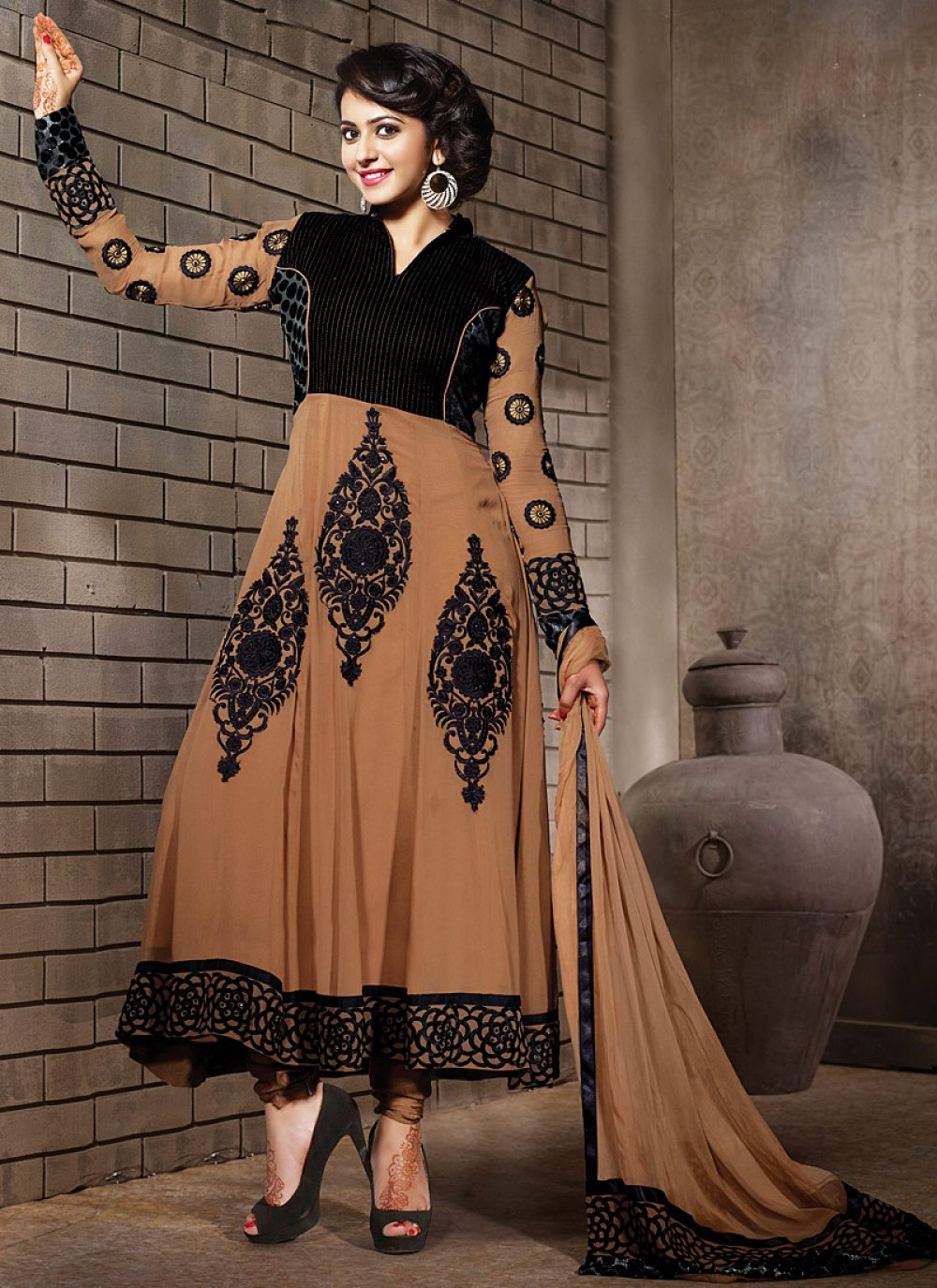 Black And Brown Embroidery Work Anarkali Suit