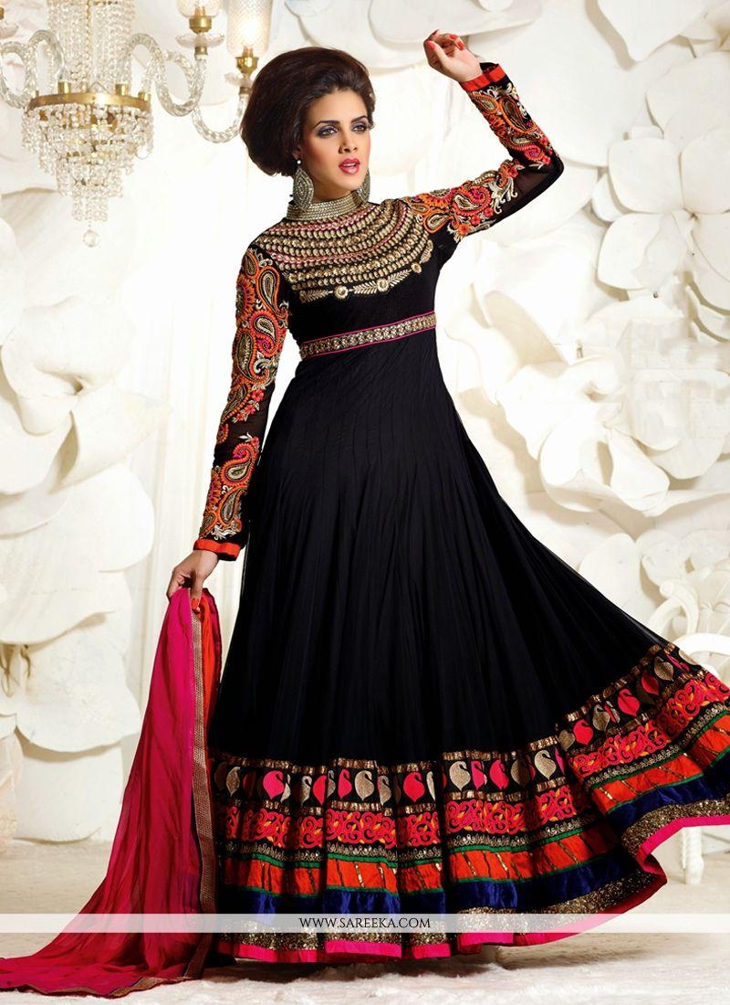 Black Faux Georgette Anarkali Suit