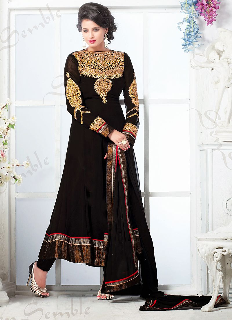 Black Zari Work Anarkali Suit