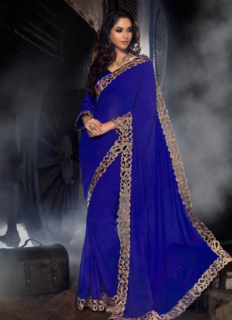 Blue Border Work Designer Saree