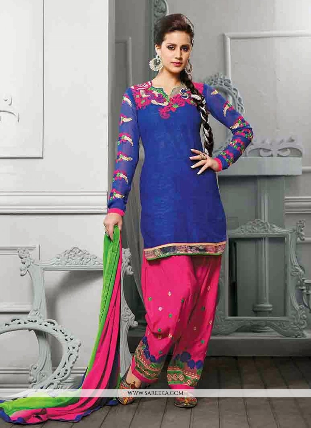 Blue Cotton Jacquard Punjabi Suit