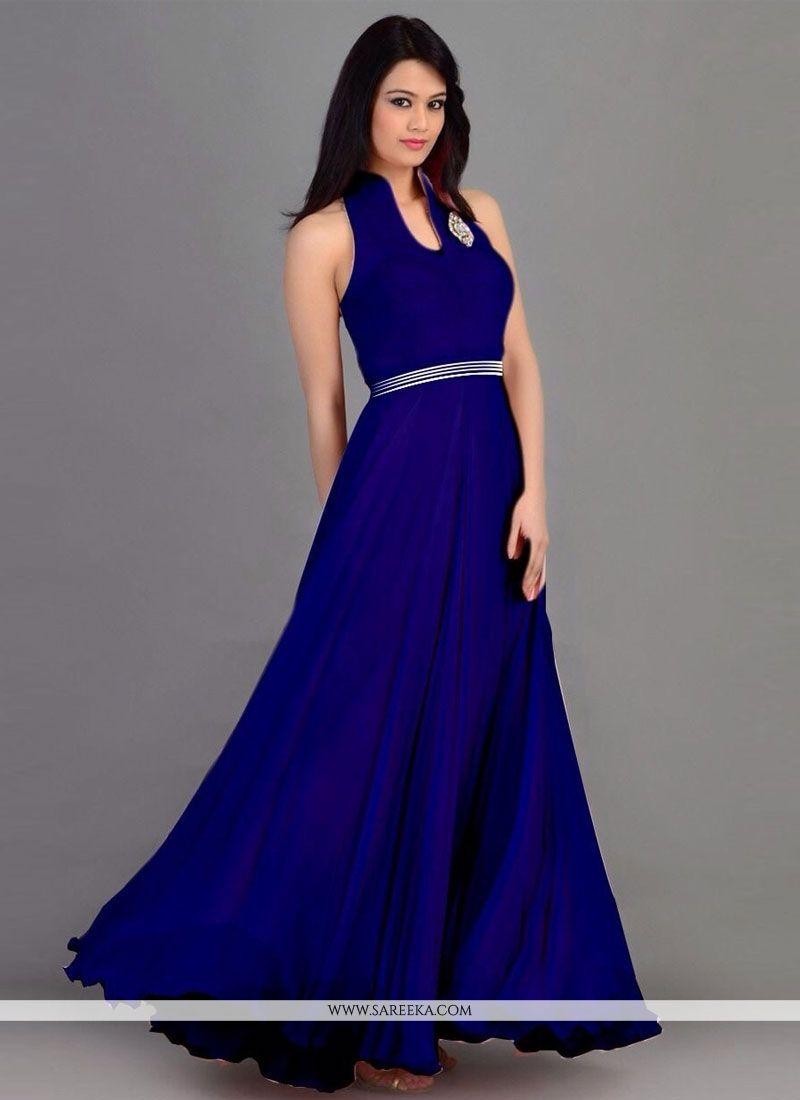 Blue Georgette Party Wear Gown