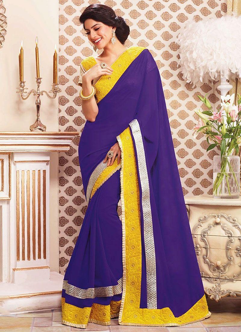 Purple Georgette Party Wear Saree