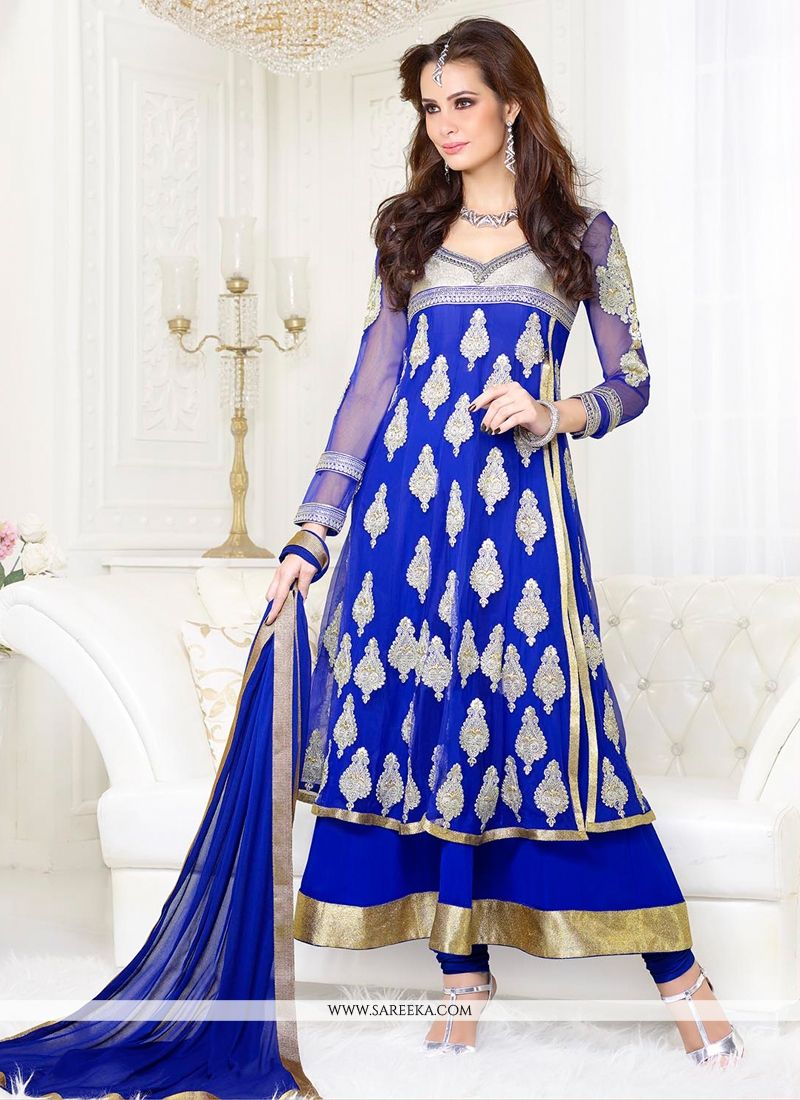Blue Net And Georgette Anarkali Suit