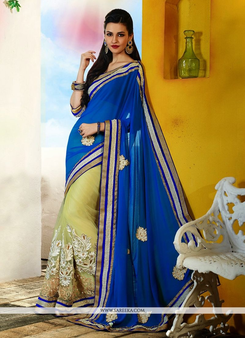 Blue Net And Georgette Saree