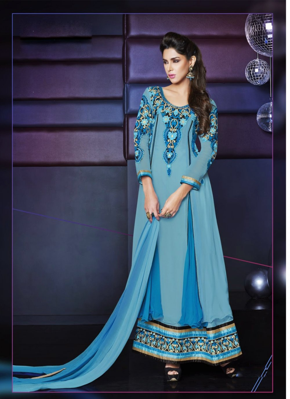 Blue Pure Georgette Anarkali Suit