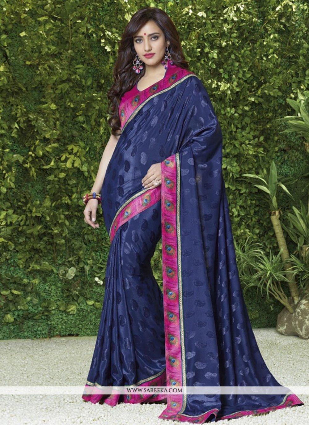 Blue Silk Jacquard Casual Saree